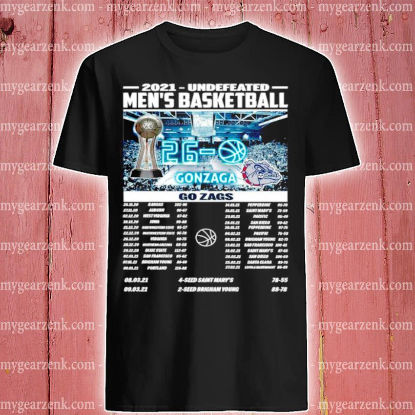 Gonzaga Bulldogs champions 2021 undefeated men's basketball regular season shirt