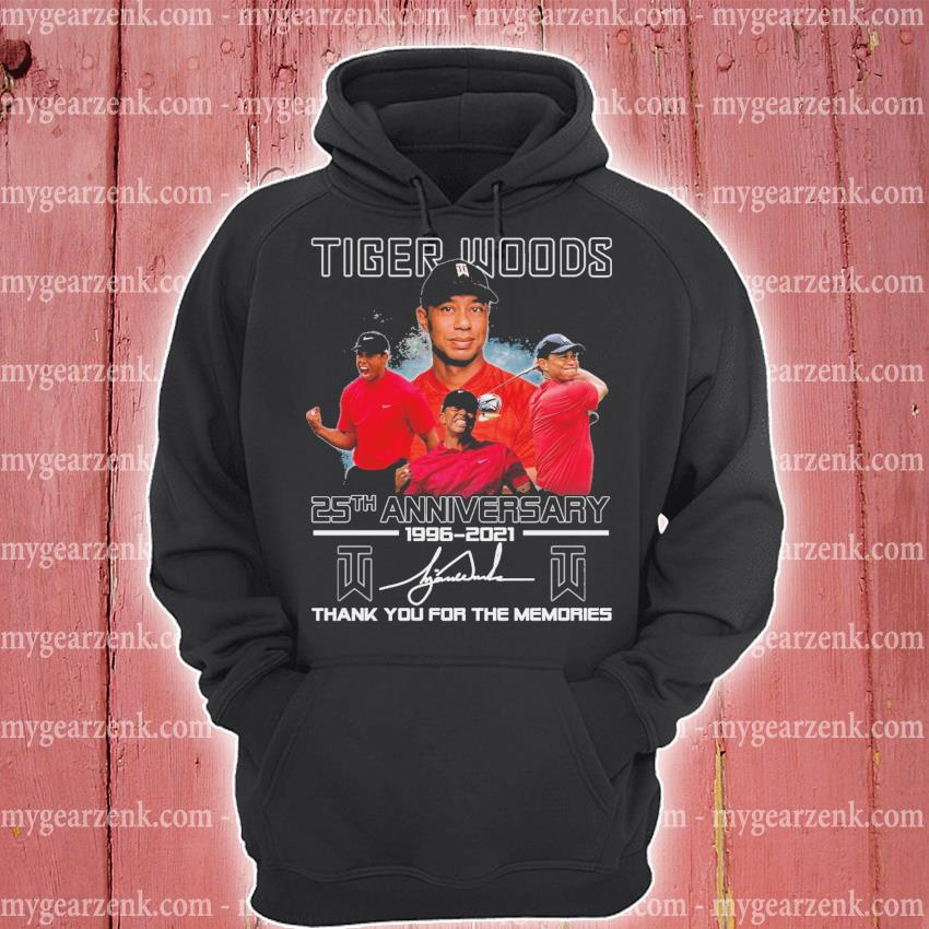 Tiger Woods 25th anniversary 1996 2021 signature thank you for the memories hoodie