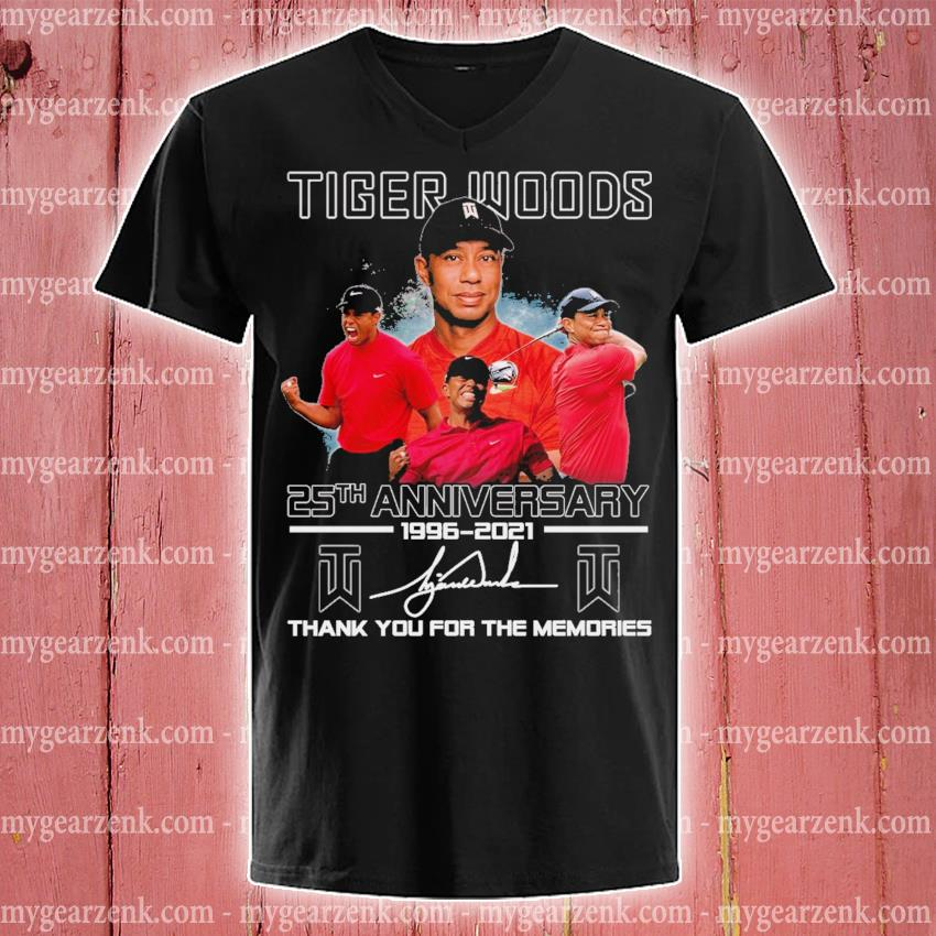 Tiger Woods 25th anniversary 1996 2021 signature thank you for the memories v-neck-tee