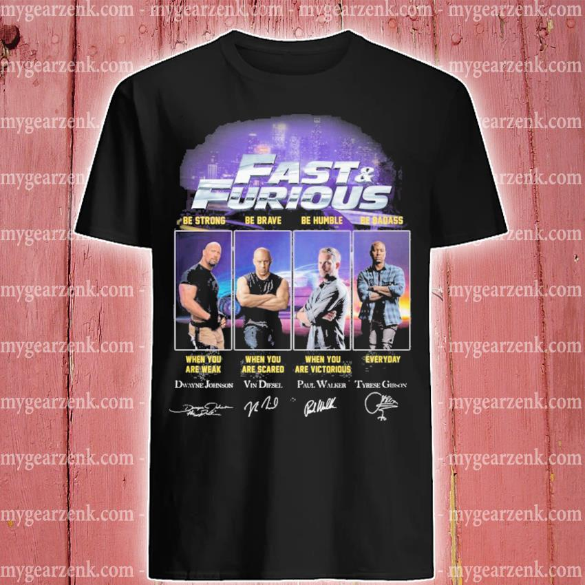 Fast and Furious character signatures shirt