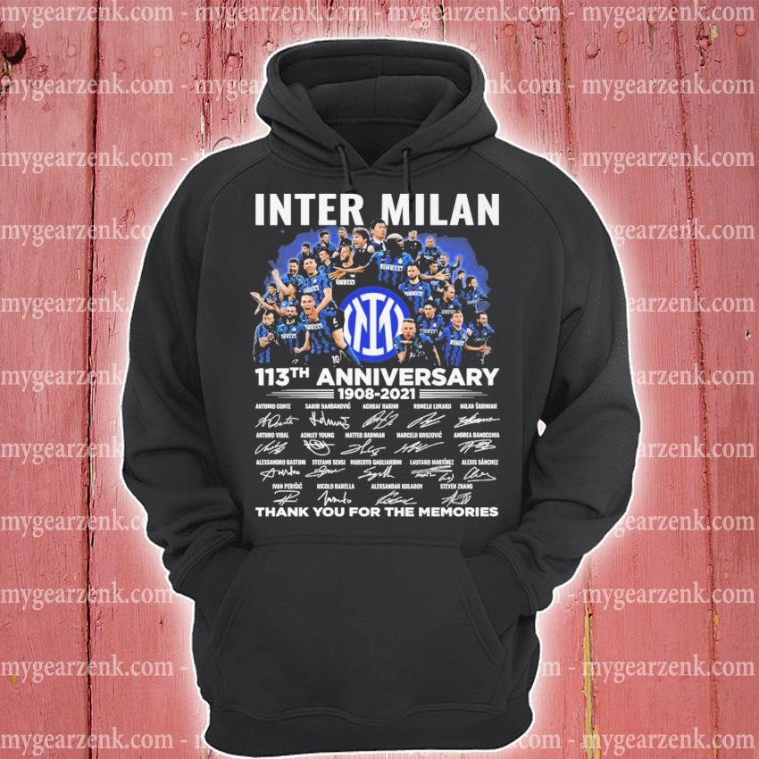 Inter Milan 113th anniversary 1908 2021 signatures thank you for the memories hoodie