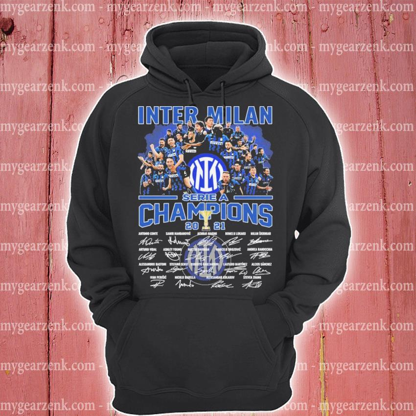 Inter Milan serie a Champions 2021 signatures thank you for the memories hoodie