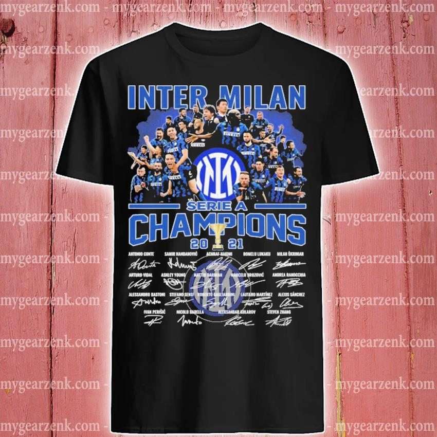 Inter Milan serie a Champions 2021 signatures thank you for the memories shirt