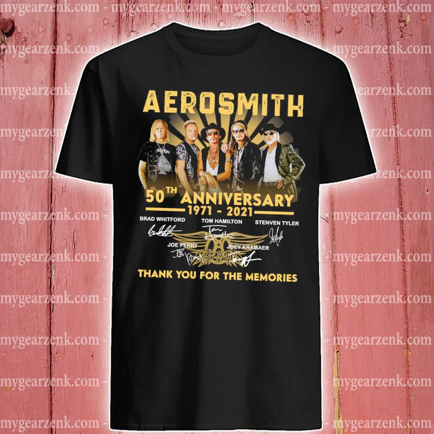 Official aerosmith 50th anniversary 1971 2021 signatures thank you for the memories shirt