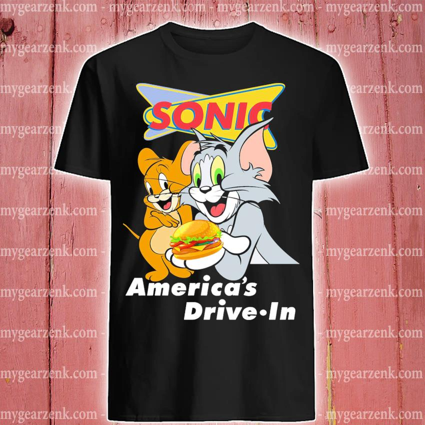 Official tom and jerry sonic america's drive in shirt
