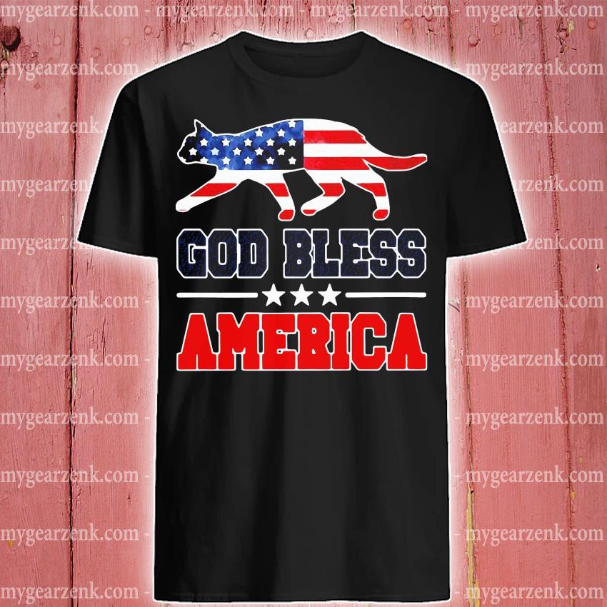 Cat God Bless America flag Shirt
