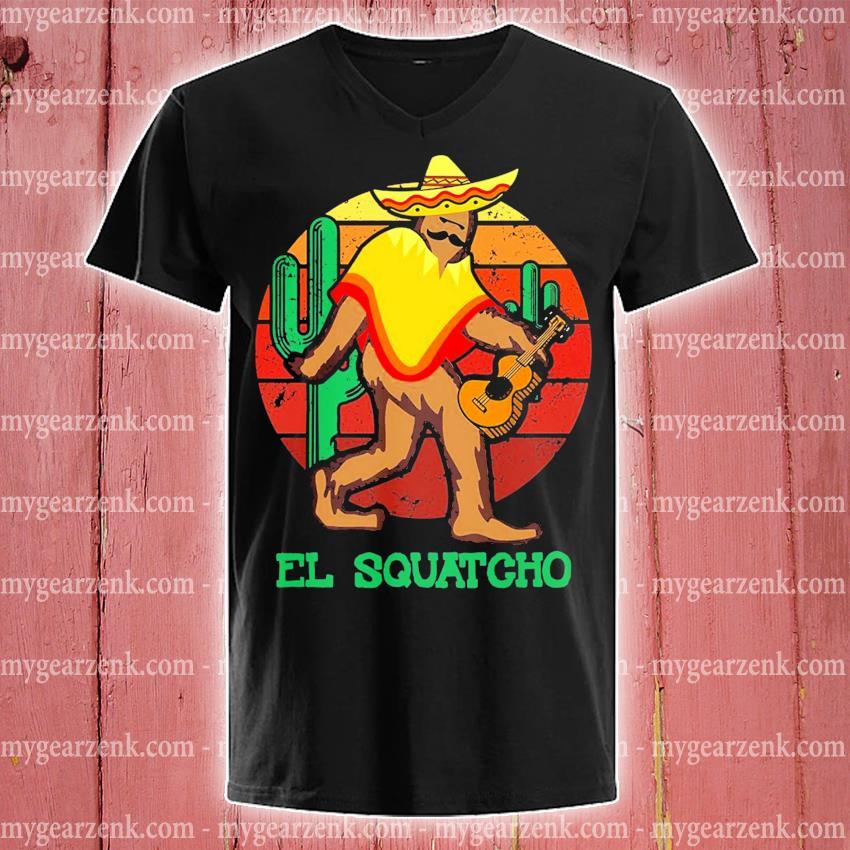 El Squatcho 2 sunset s v-neck-tee