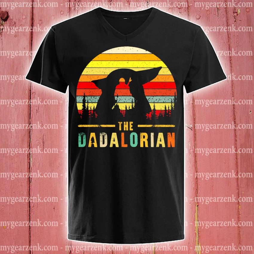 The Dadalorian Definition Father's Day vintage sunset s v-neck-tee