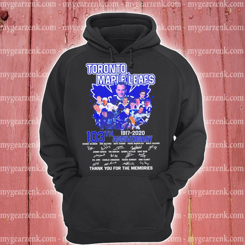 Toronto maple leafs 103th anniversary 1917 2020 signature s hoodie