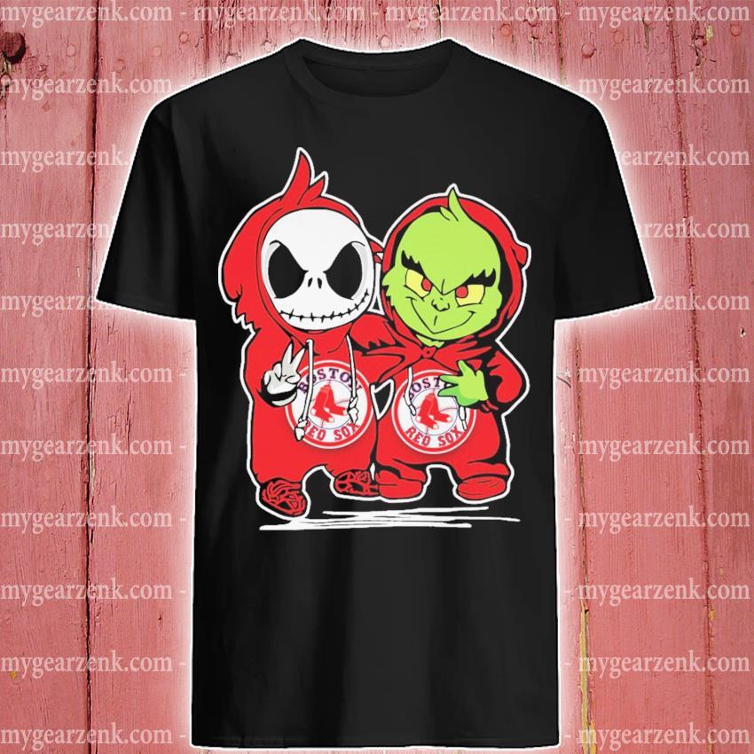 Baby Jack Skellington and baby Grinch Boston Red Sox Baseball shirt