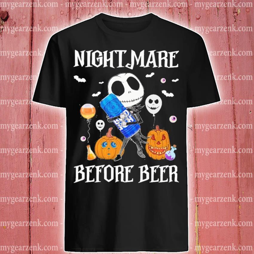 Halloween pumpkin Jack Skellington hug Bud Light nightmare before Beer shirt