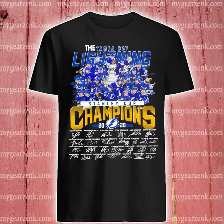 the tampa bay lightning stanley cup champions 2020 signatures shirt hoodie sweater long sleeve and tank top the tampa bay lightning stanley cup