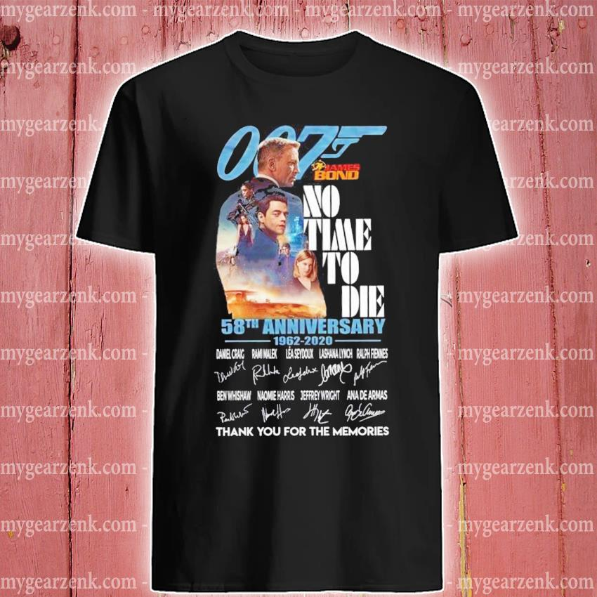 007 James Bond no time to die 58th anniversary signatures shirt