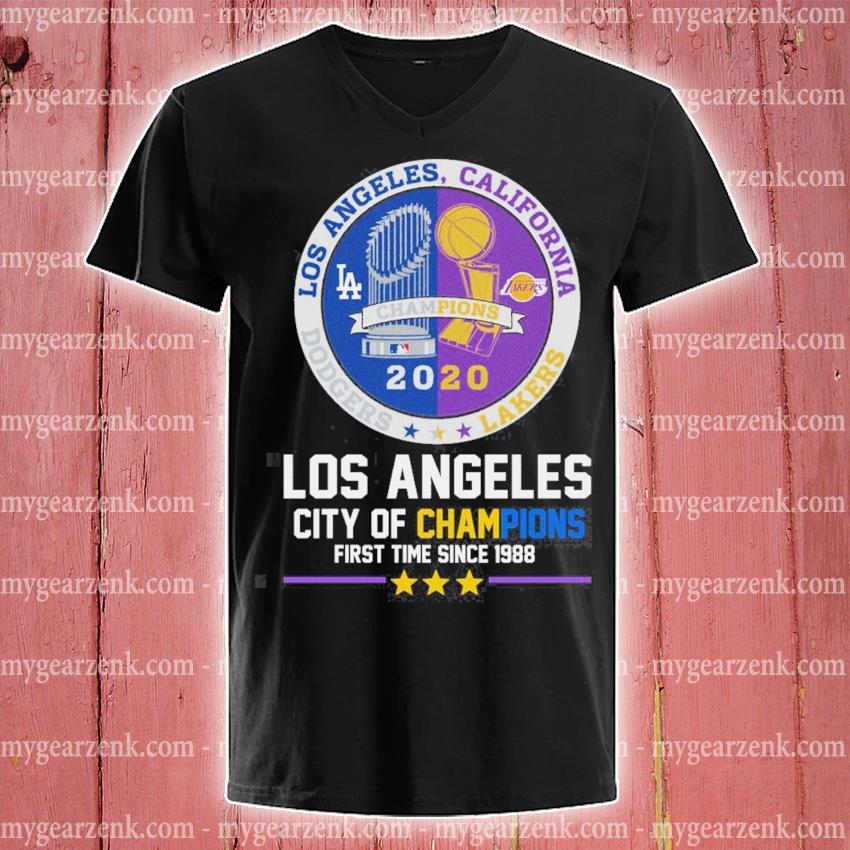 Los Angeles California 2020 Los Angeles city of Champions first time since 1988 s v-neck-tee