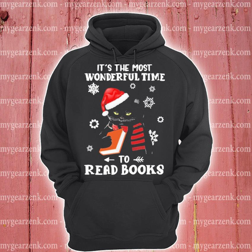 Black Cat It's the most wonderful time to Read Books Christmas s hoodie