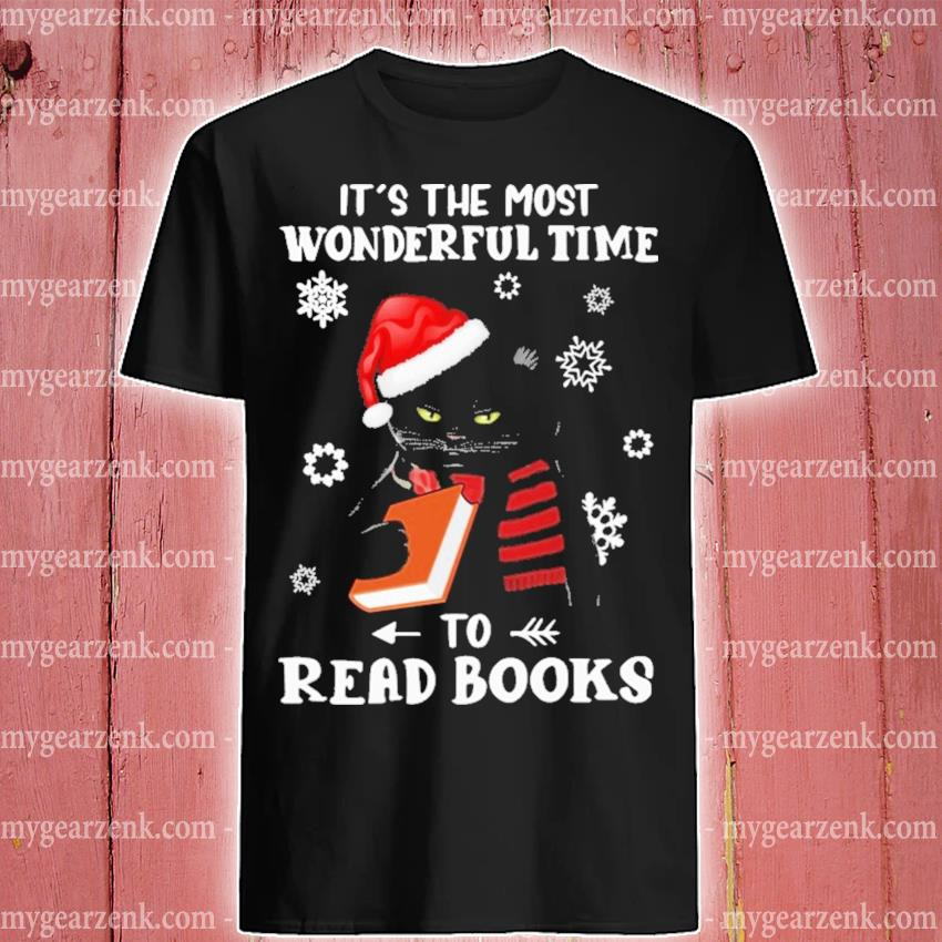 Black Cat It's the most wonderful time to Read Books Christmas shirt