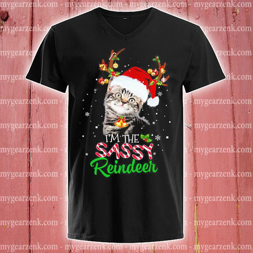 Cat I'm the sassy Reindeer Christmas sweater v-neck-tee
