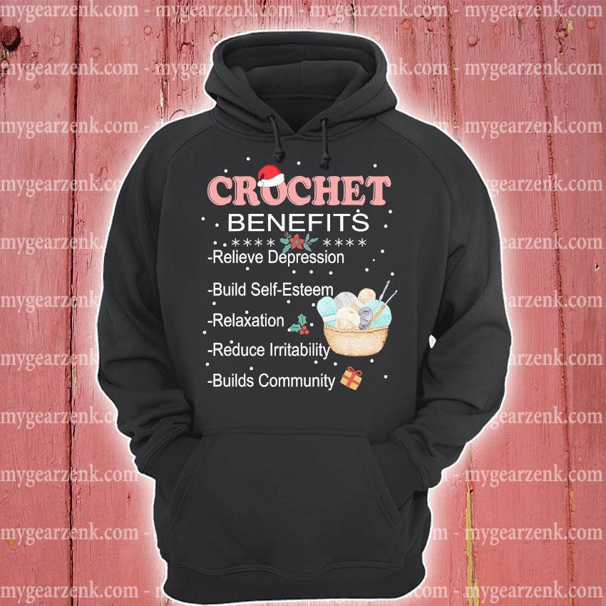 Crochet Benefits Relieve Depression Christmas sweater hoodie
