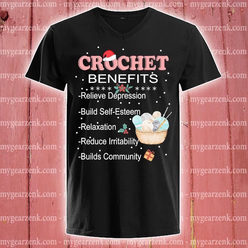 Crochet Benefits Relieve Depression Christmas sweater v-neck-tee