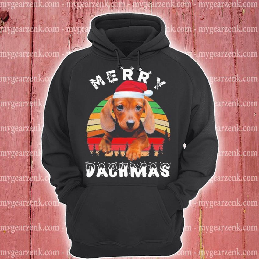 Dachshund Santa merry Chmas vintage s hoodie