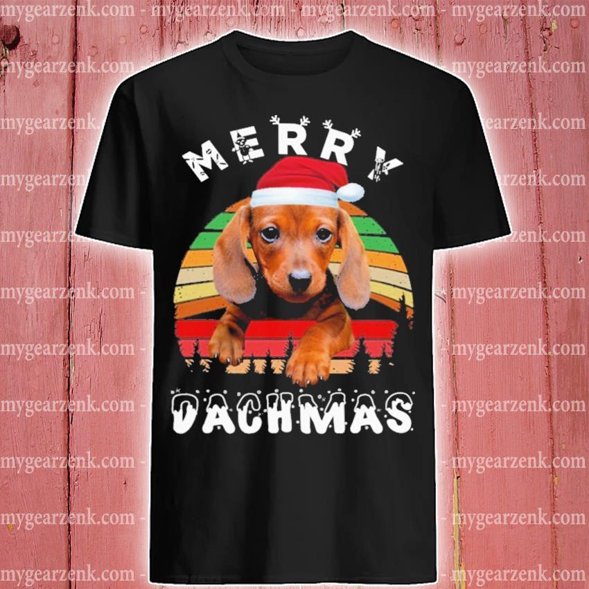 Dachshund Santa merry Chmas vintage shirt