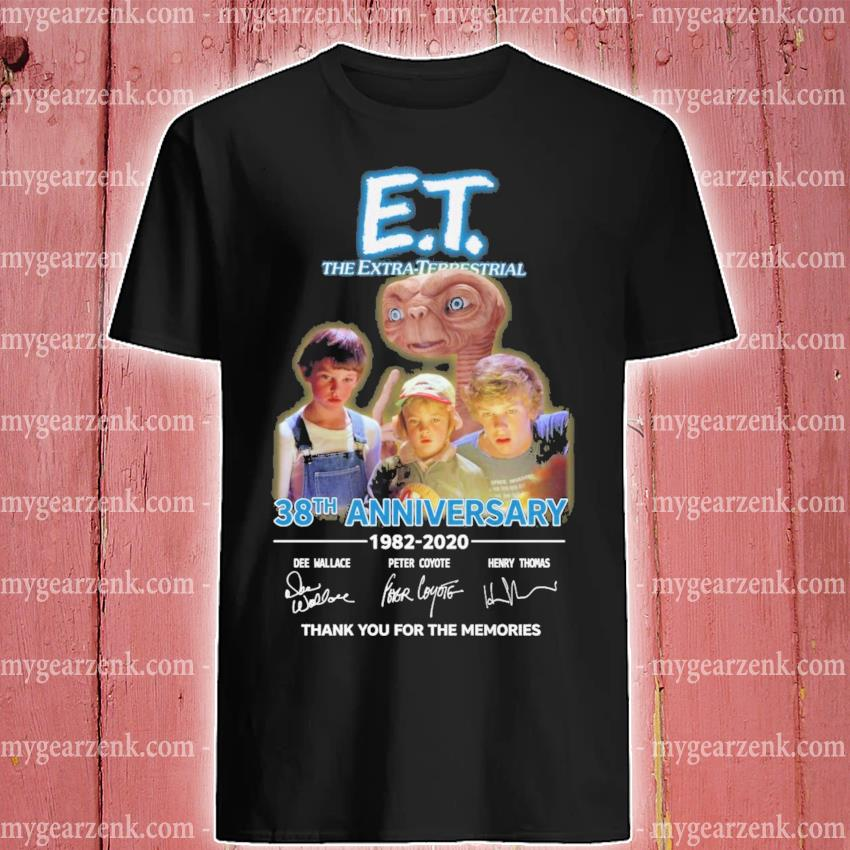 ET The Extra Terrestrial 38th anniversary signatures thank you for the memories shirt