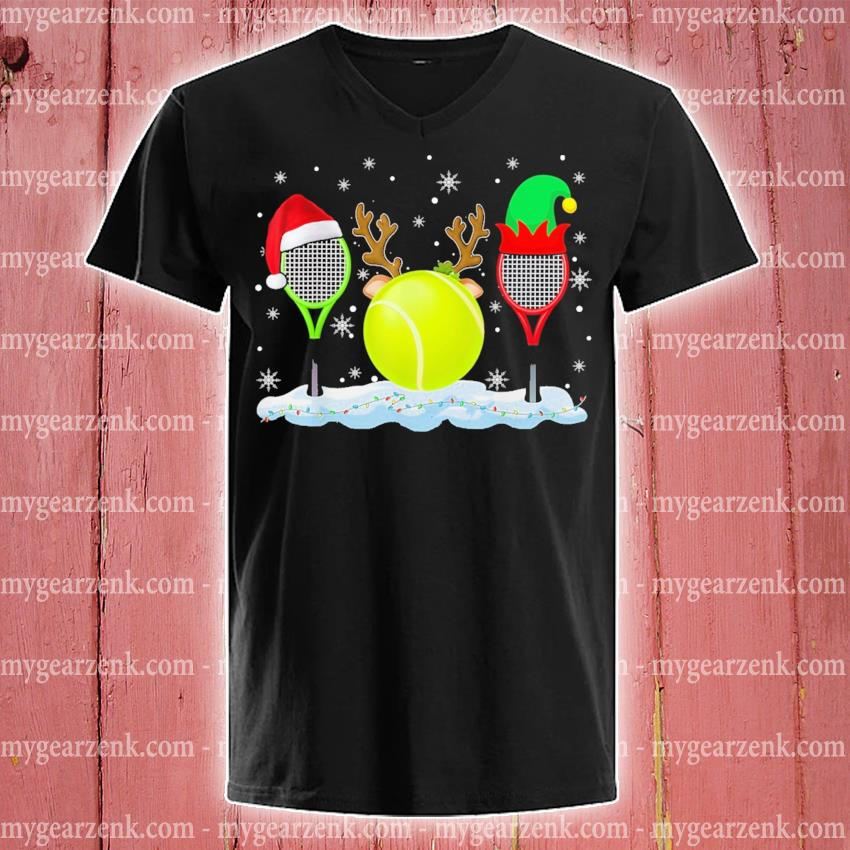 Tennis hat Santa happy merry Christmas 2020 s v-neck-tee