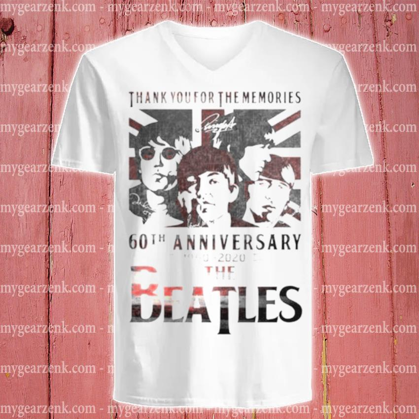 The Beatles 60th anniversary 1960 2020 thank you for the memories signatures s v-neck-tee